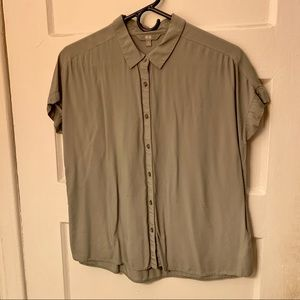 Uniqlo Oversized Courier Shirt Grey Button Up